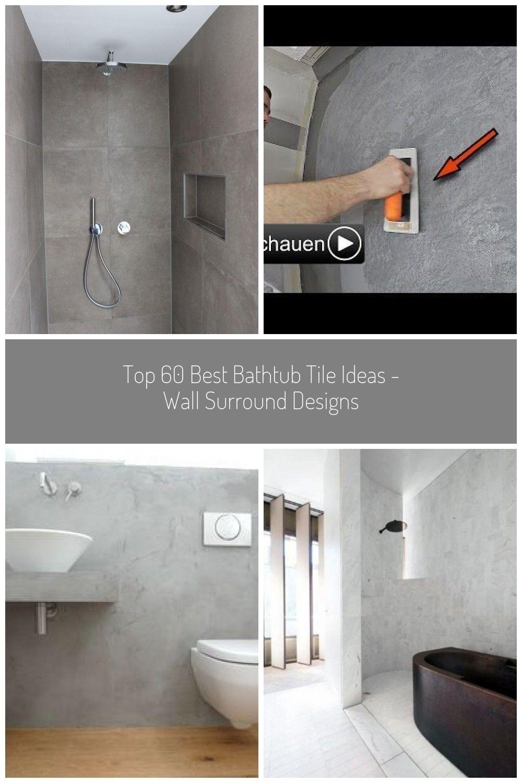 Modernes Zeitloses Bad Mit Praktischen Nischen Fliesen In Betonoptik Farbe Mokka Wande Stuck Feiner Spatel Mit Eingeseifter Oberflache Keuc In 2020 Bathroom Bathtub
