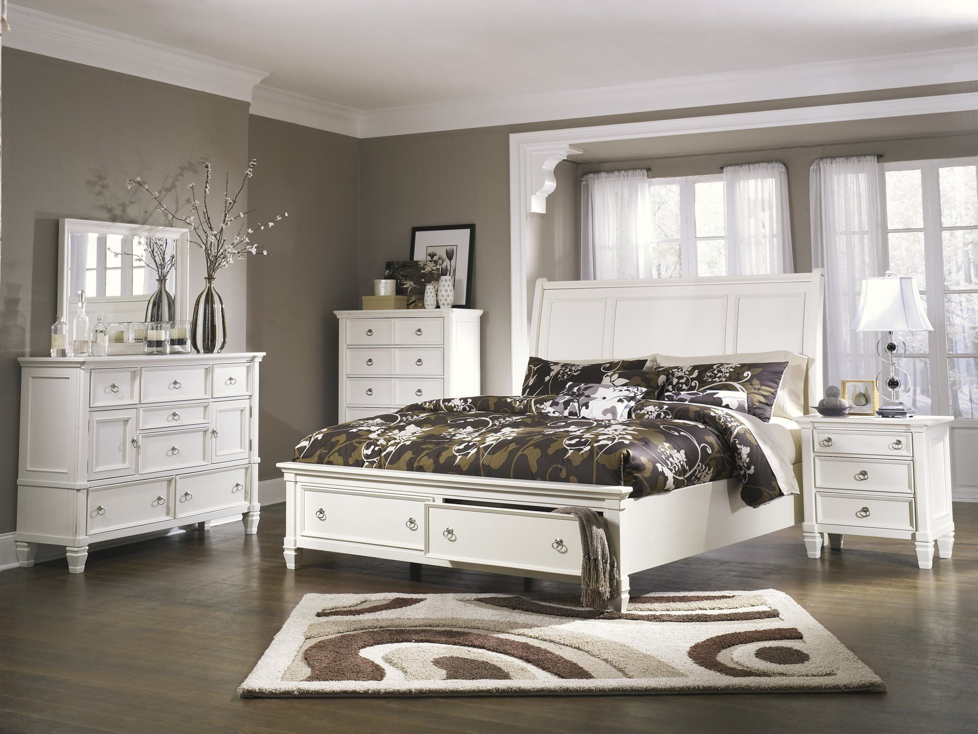 Best Ashley Prentice 5Pc Bedroom Set E King Sleigh Bed Dresser 640 x 480