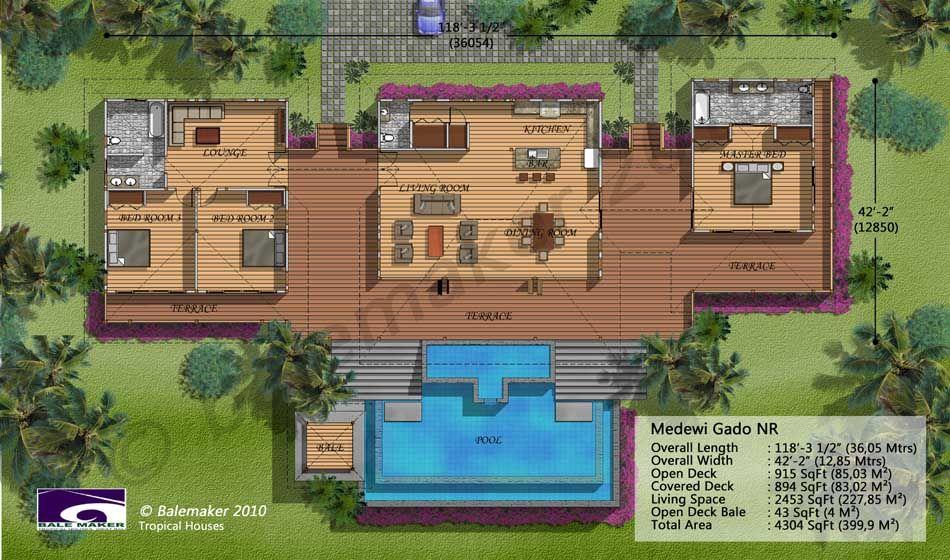 Medewi Gado Nr Tropical House Design Pod House House Plans