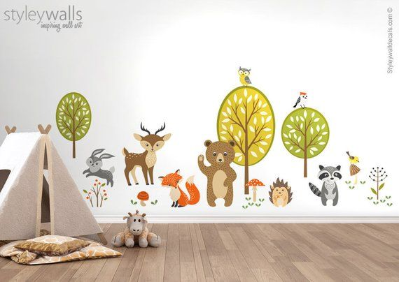 Forest Animals Wall Decal Woodland Critters Animals Wall | Etsy