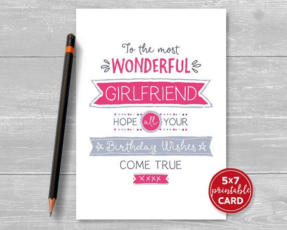 Printable Birthday Card For Girlfriend To The Most Wonderful