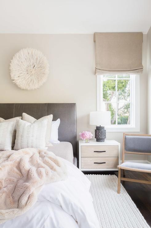 Cream, blush pink, white & grey bedroom