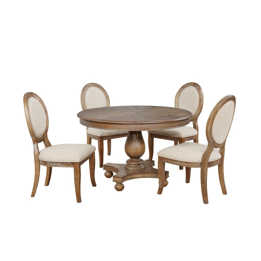 Powell Company Lenoir 5 Piece Dining Set Brown Round Dining Set