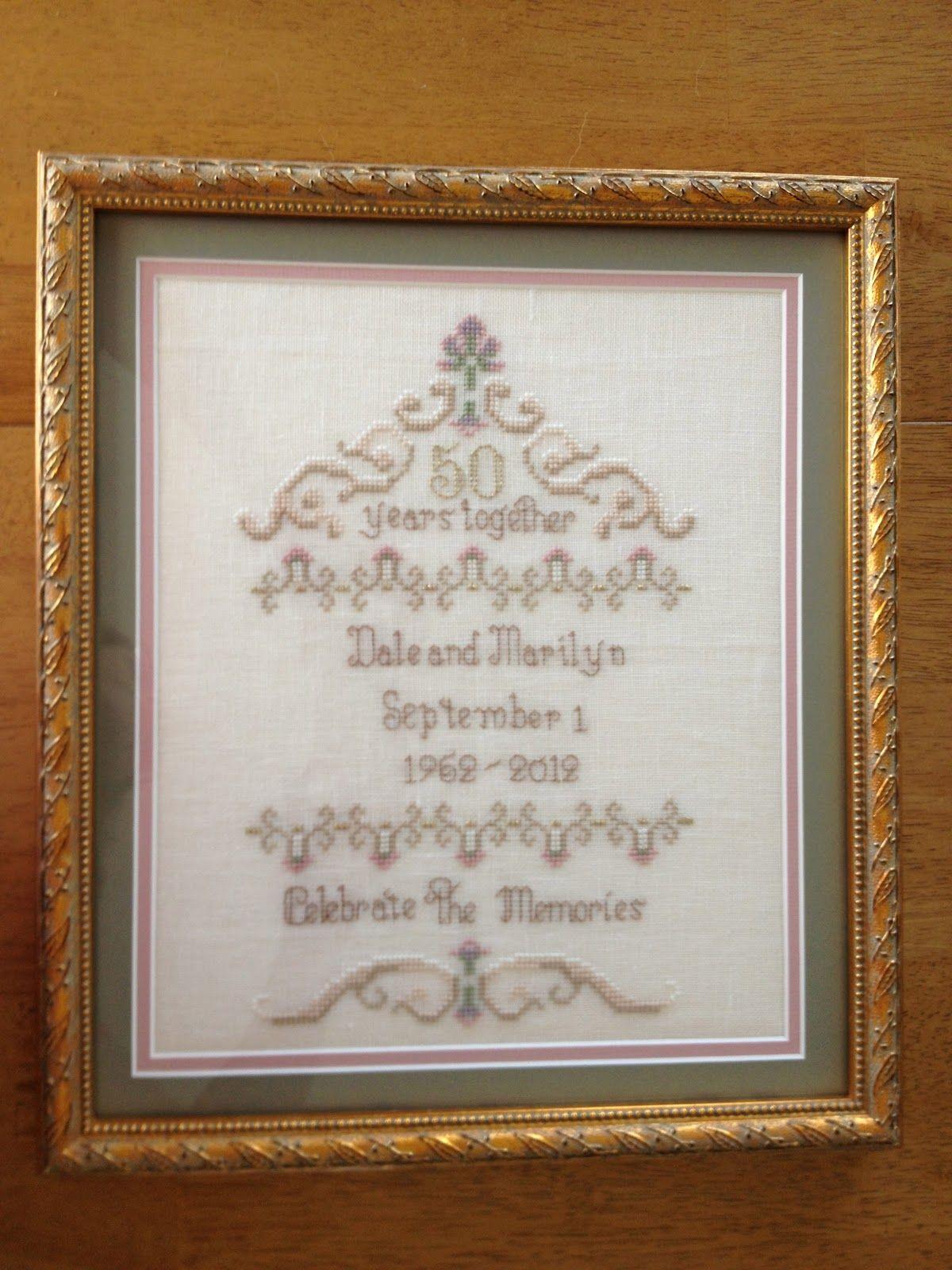 50th wedding anniversary gift crossstitch