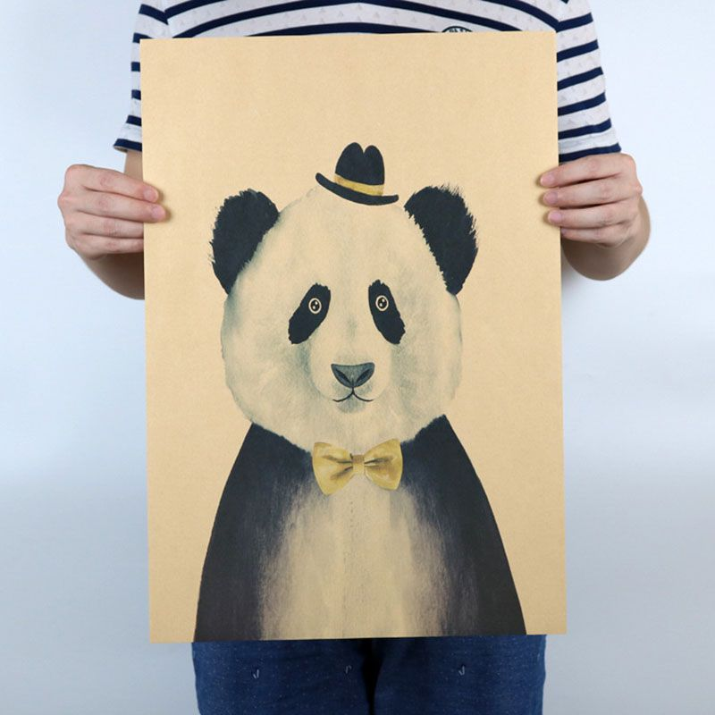 Panda Cartoon Children Vintage Poster kindergarten wall retro Kraft ...