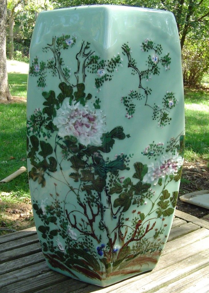 Antique Japanese Meiji Era Hand Painted Celadon Garden Seat Oriental