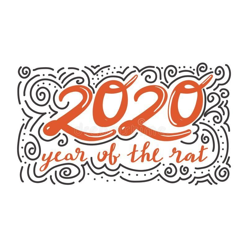 Merry Christmas And Happy New Year Lettering With Doddle For Greeting Card Poster Sticker Etc Rat Is Chinese Symbol 2020 Year Roy Happy New Year Letter Merry Christmas Happy New Year