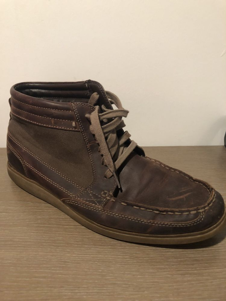 CLARKS WATTS MID MENS LACE-UP LOW BOOT BROWN LEATHER