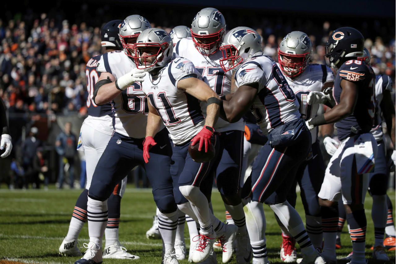 New England Patriots Wide Receiver Julian Edelman 11 Celebrates A Touchdown During The First Half Of An Nfl Football Game Against The Chicago Bears Sunday Oc