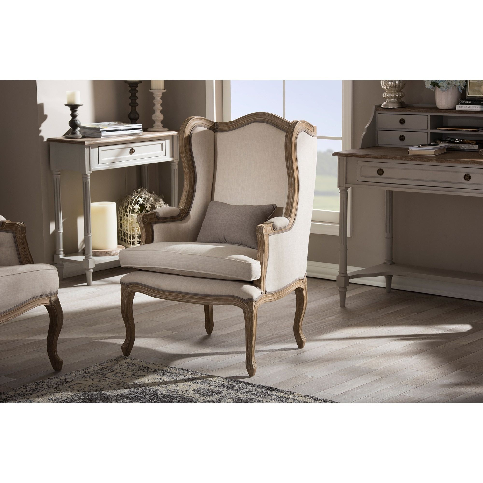 Baxton Studio Oreille French Provincial Style White Wash Distressed ...