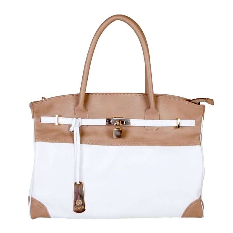 White & sand leather bag Bolso piel blanco y arena