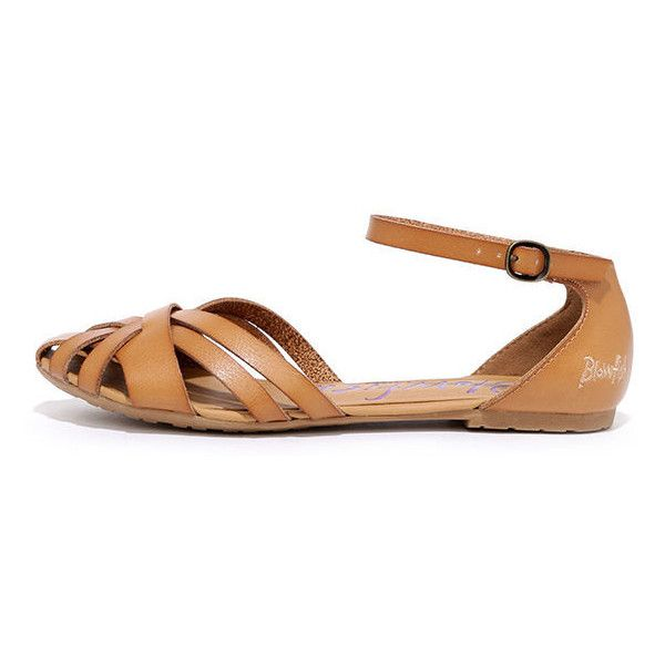 15671f65076 Blowfish Rode Desert Sand Flat Ankle Strap Sandals ( 46) ❤ liked on  Polyvore featuring
