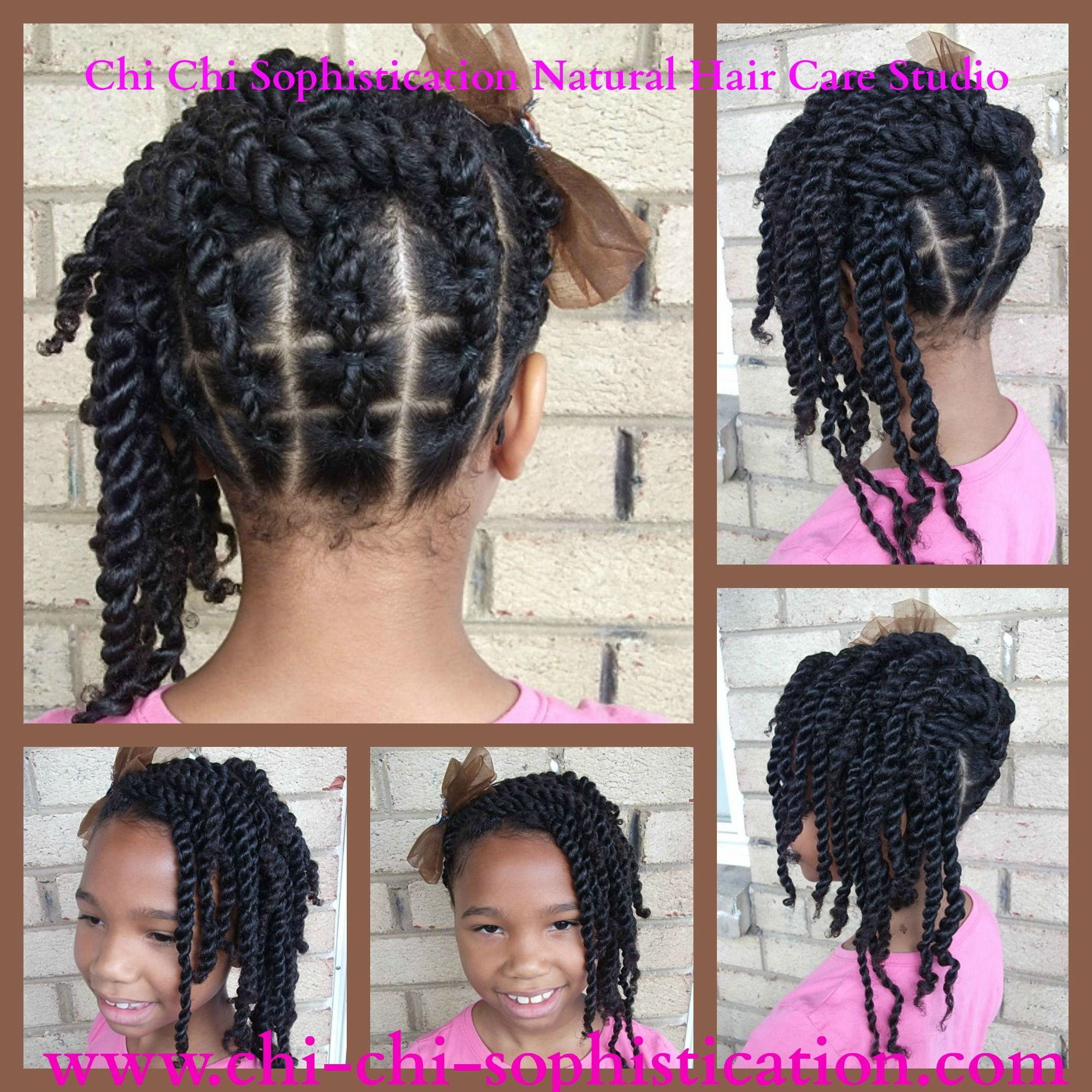 Ponytails Styled Into A Double Strand Twist Up Do Children