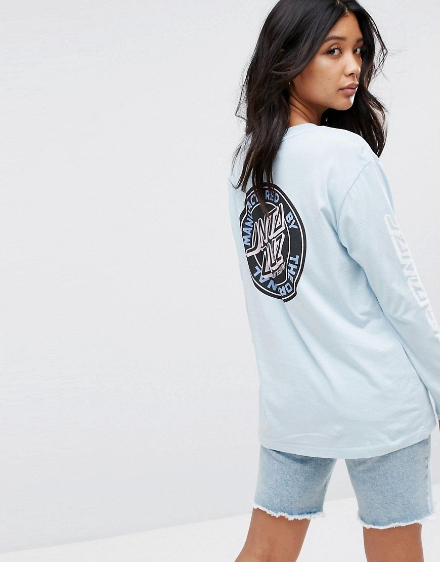 b894fc3775f6 Santa Cruz Long Sleeve T-Shirt With Original Dot Logo Back Print   I ...