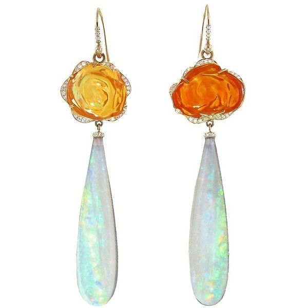 99be18394 Irene Neuwirth Carved Fire Opal Flower and Crystal Opal Drop Earrings...  (191,940 CNY) ❤ liked on Polyvore featuring jewelry, earrings, crystal drop  ...
