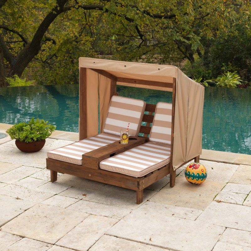 Double Chaise Lounge with Cup Holders - Espresso & Oatmeal ...