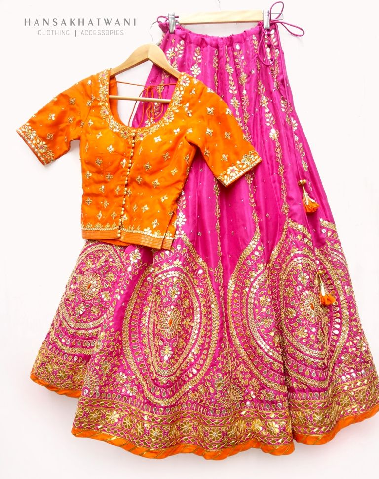f2f64f7986de The beautiful Pink and orange gota patti bridal lehenga! We love the bright  colours!