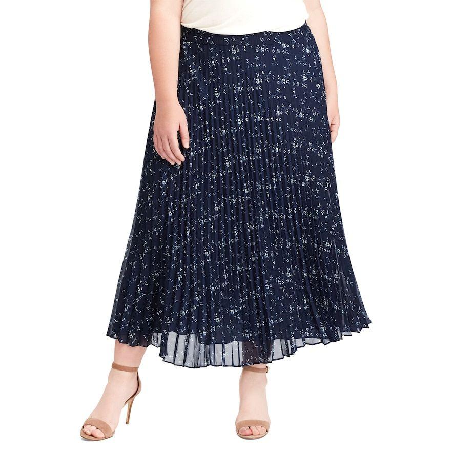 ceae2e468 Plus Size Chaps Floral Pleated Georgette Skirt, Women's, Size: 1XL, Blue  (Navy)