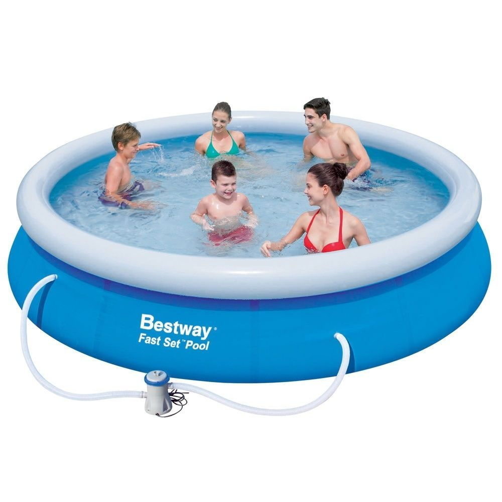 Bestway Fast Set 15ft Inflatable Pool Jumbo Swimming Family Filter Pump Ladder Outdoor Pools