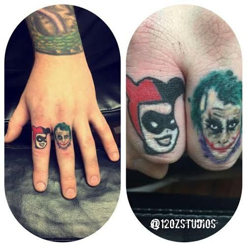 Rad finger tattoos featuring Harley Quinn and the Joker from Batman by Jose Bolorin.
