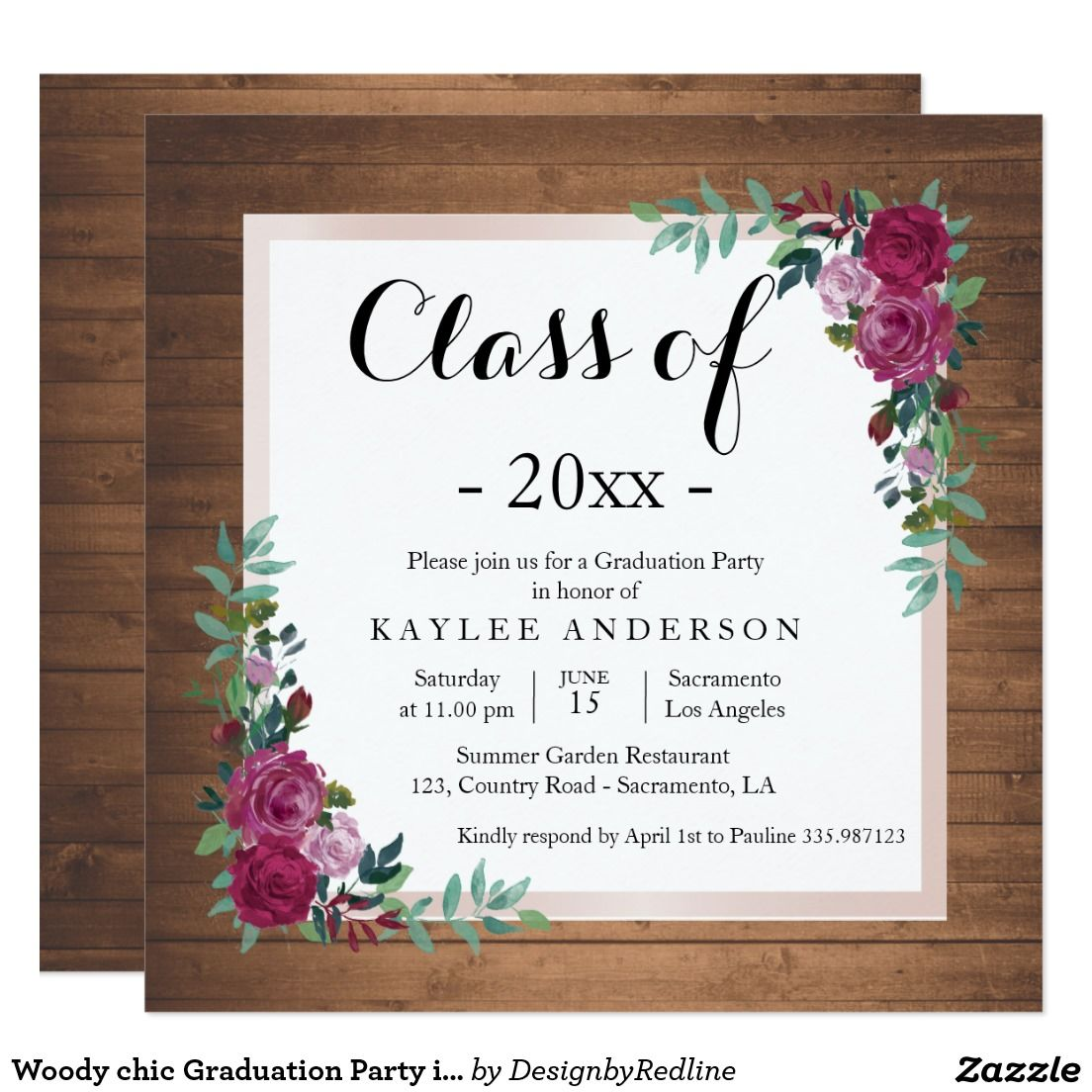 Woody chic Graduation Party invitation | Graduation PARTY ...