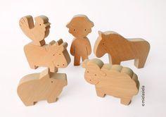 Barnyard la granja juguetes de madera Waldorf Set por mielasiela