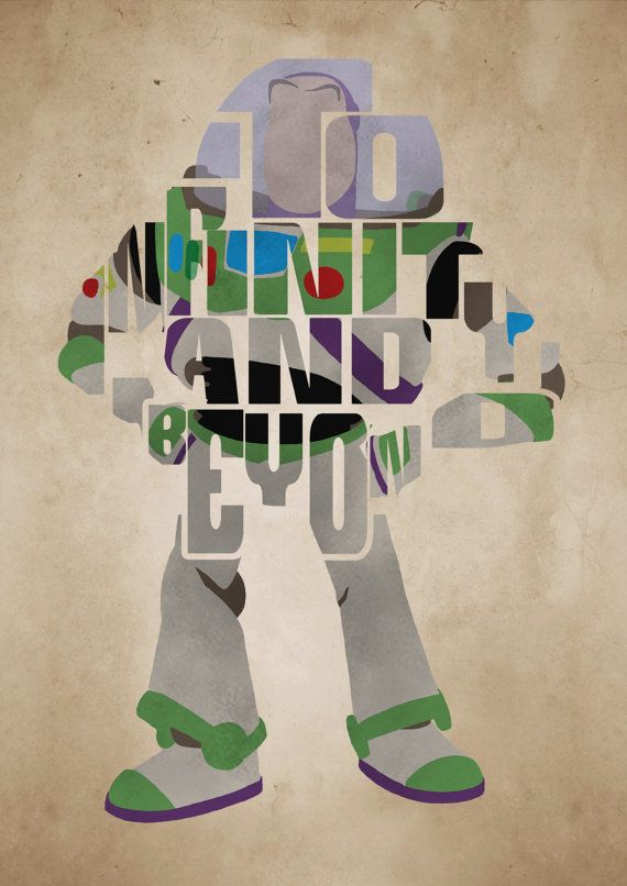 Buzz Lightyear, Toy Story Poster   Minimalist Typography Poster, Movie  Poster, Art Print Part 85