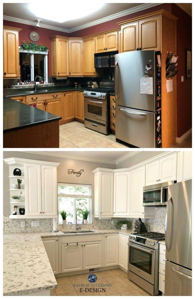 E-Design - An Oak Cabinet Makeover with White Dove ...