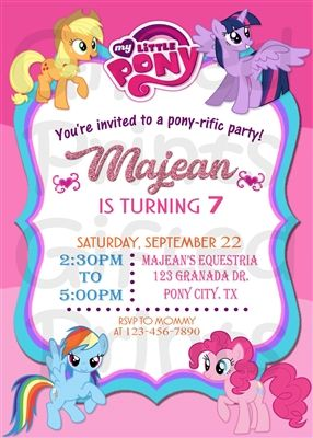 My Little Pony Birthday Invitation My Little Pony Birthday Party Little Pony Birthday Party My Little Pony Birthday