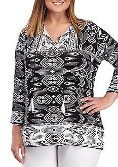 Ruby Rd Plus Size Tie Neck Ikat Bell Sleeve Top | Portfolio ...
