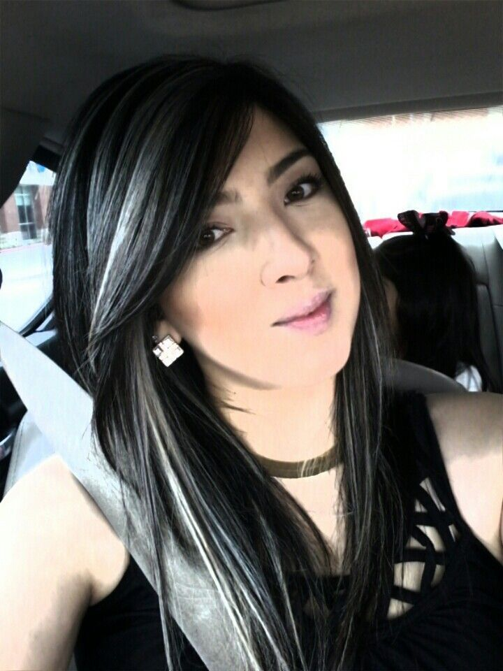 Black Hair With White Highlights Gray Hair Highlights Hair Highlights Black Hair With Highlights