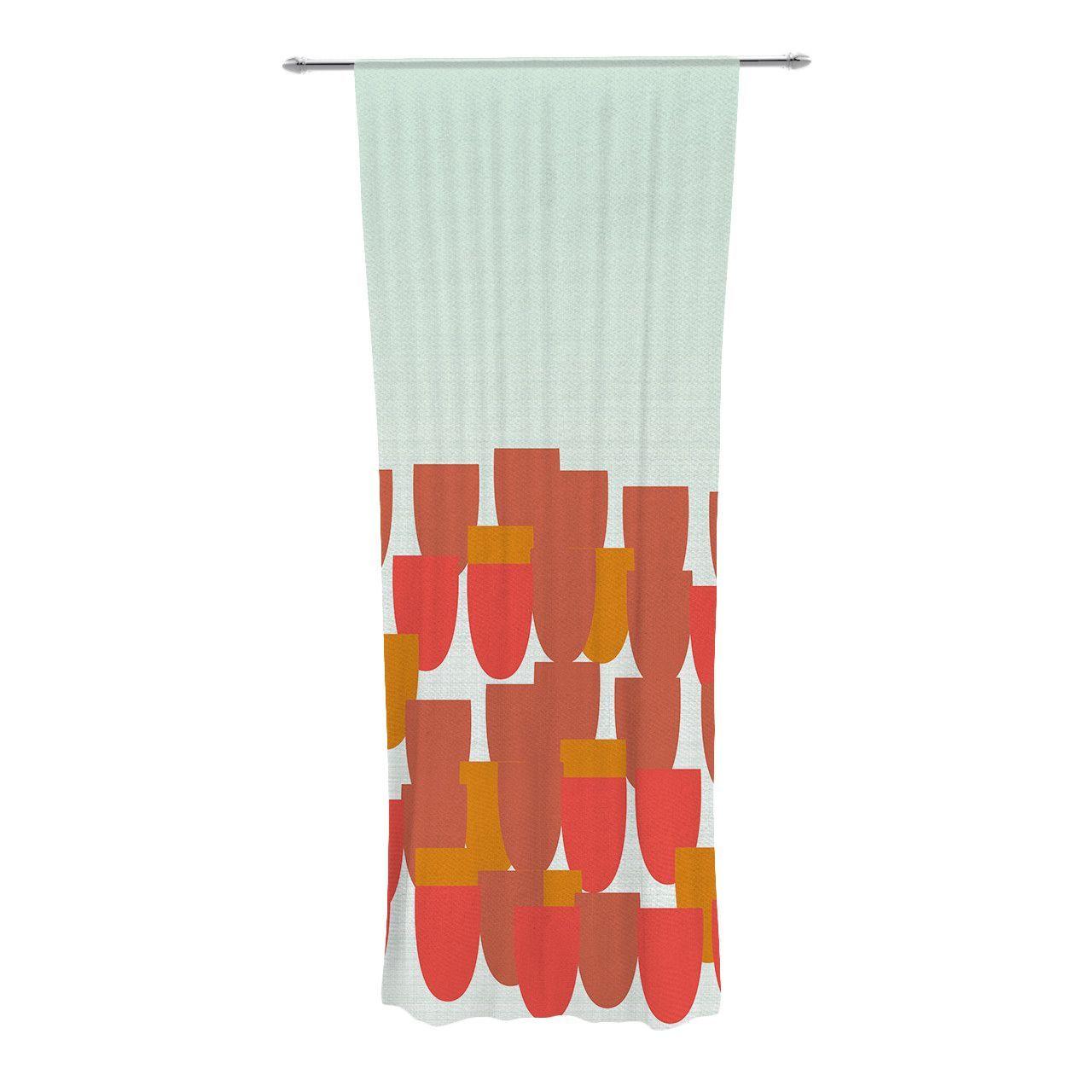 """Pellerina Design """"Sunrise Poppies"""" Red Aqua Decorative Sheer Curtain"""