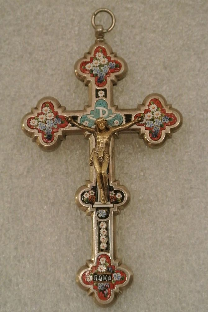 Details about Antique Micro Mosaic Crucifix Old Silver Cross Italy