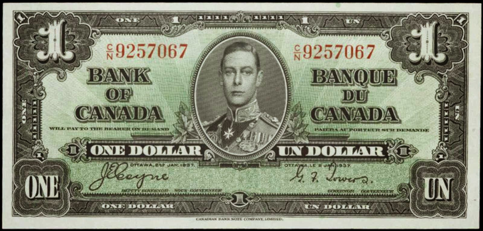 Bank Of Canada 1937 One Dollar Bill Canadian Banknotes