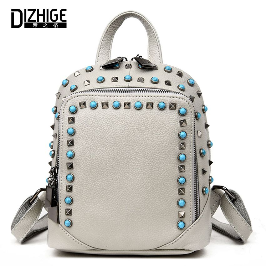 Fashion Rivet Genuine Leather Backpack Women Bag School Bags For Teenagers  Girls Backpacks Famous Brands Backpack 101a4414e8721