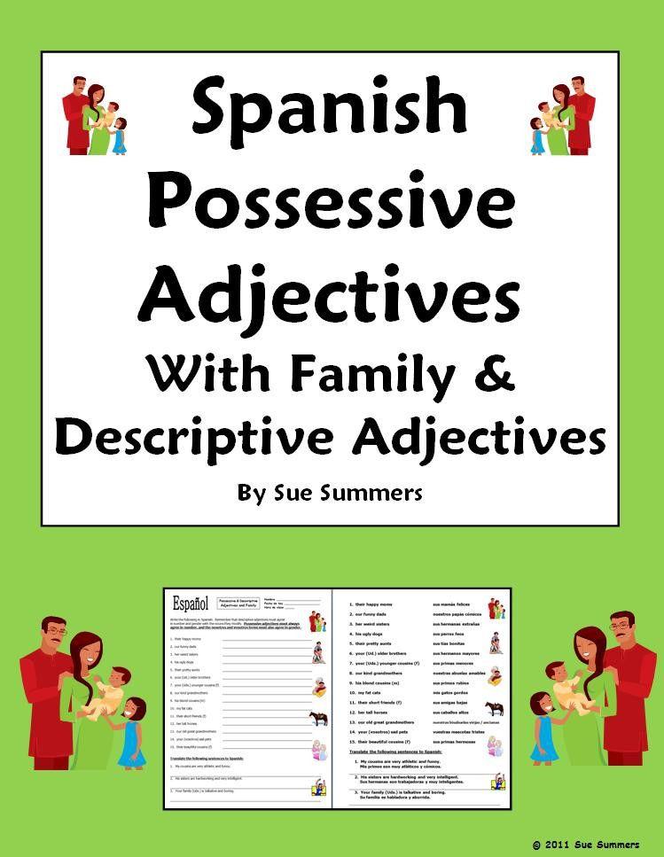 spanish possessive adjectives practice pdf