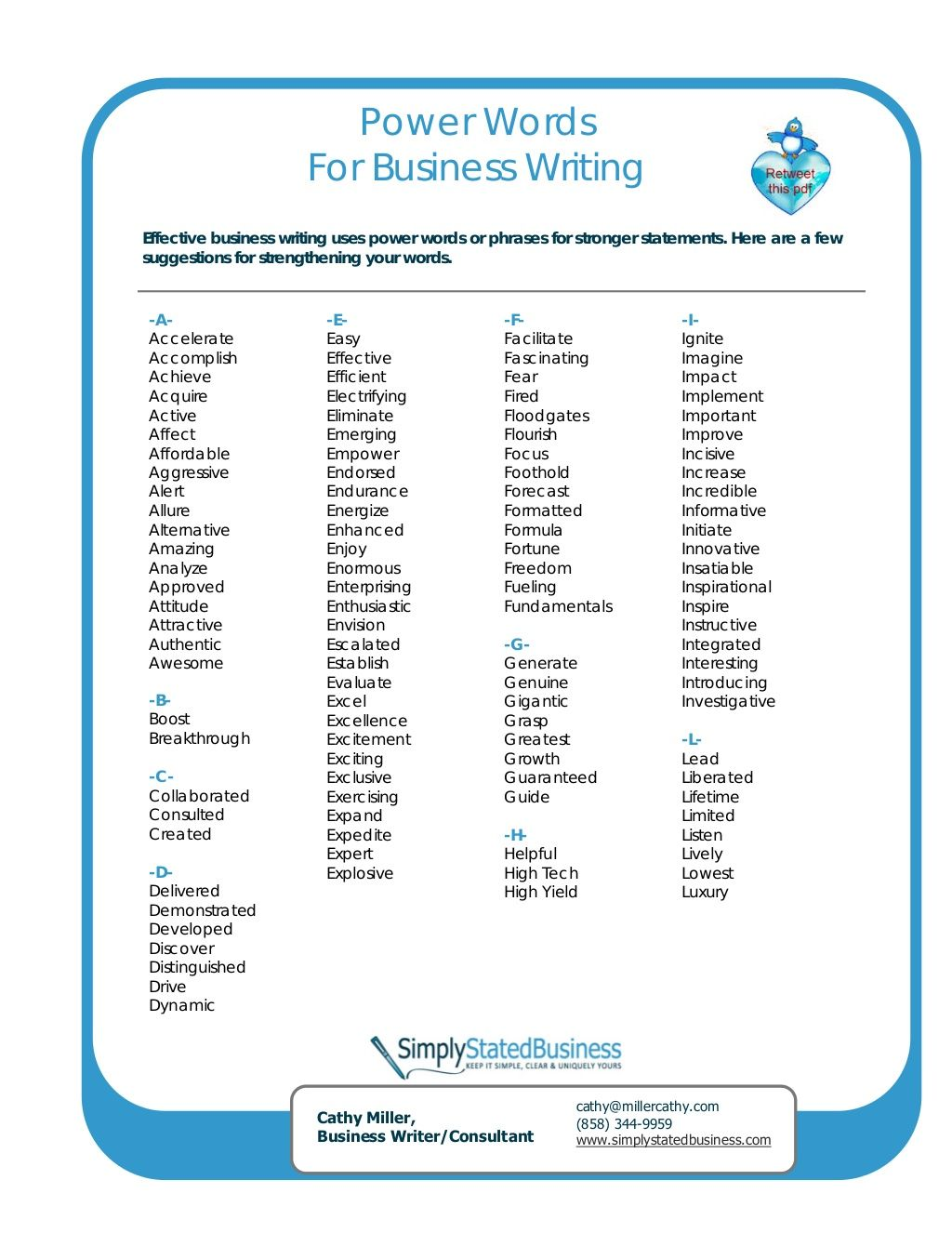 Power Words 17806994 By Cathy Miller Business Writer Consultant Via Slideshare Powerful Words Business Writing Persuasive Words