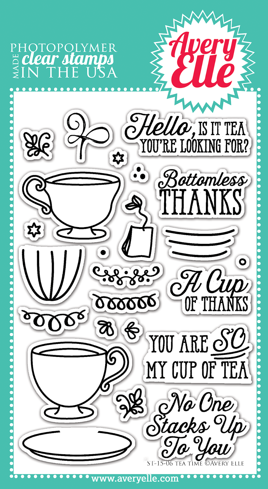Avery Elle: Tea Time Clear Stamp Set