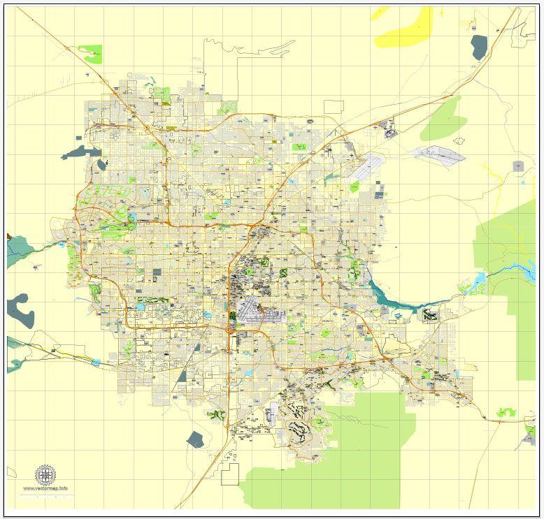 Las Vegas PDF map Nevada US printable vector City Plan