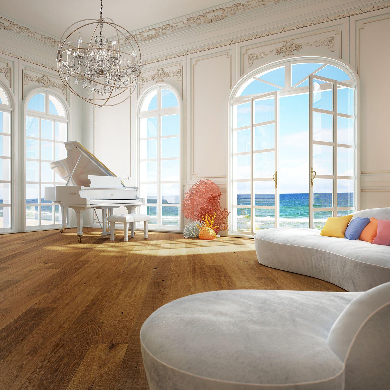 Salon Blanc Luxueux Avec Grand Piano Et Vue Sur La Mer Plancher De