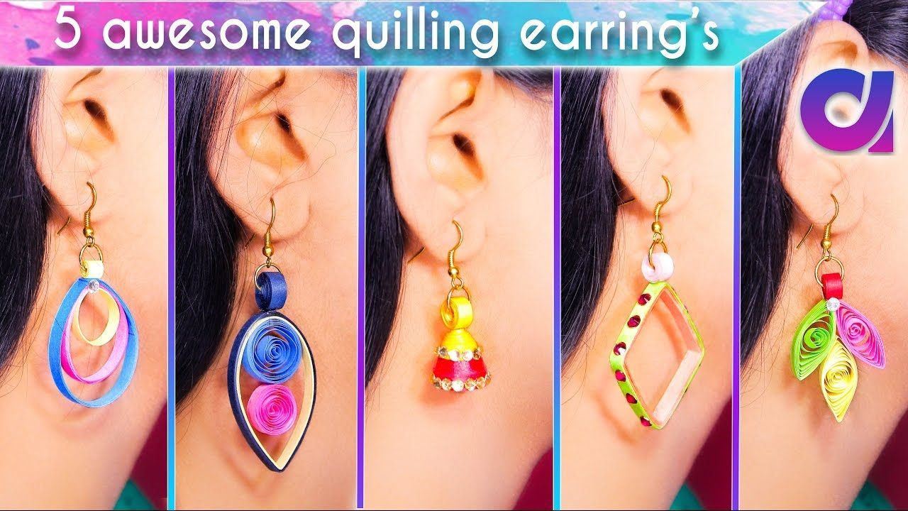 easy and awesome quilling earrings for girls diy artkiala
