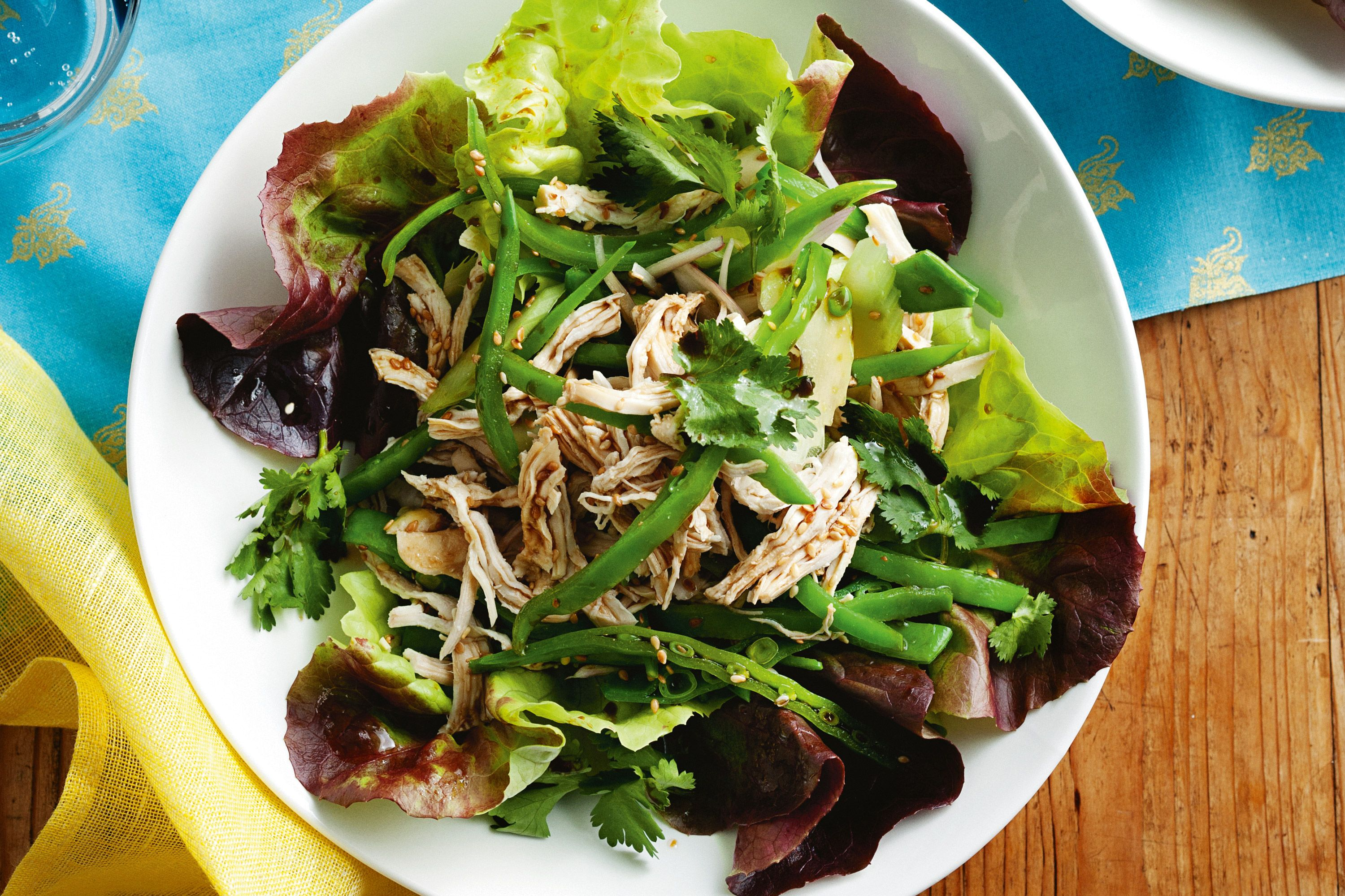 Fragrant ginger adds a zing to poached chicken for a super healthy salad.