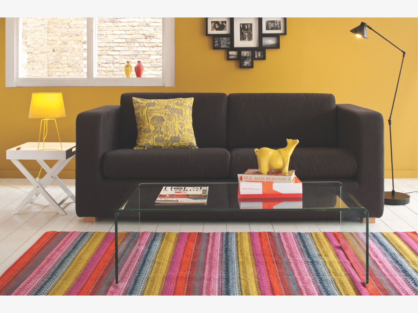 AGNES Medium Bright Stripe Cotton Rug 140 X 200cm Living Room
