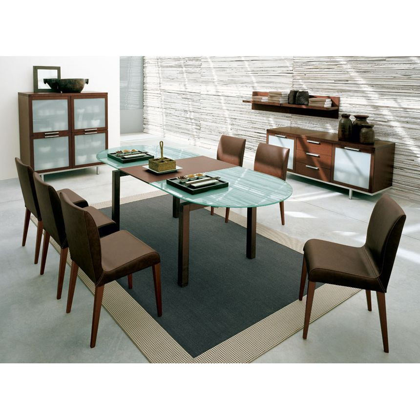 Calligaris Motion Oval Glass And Wood Extendable Dining Table