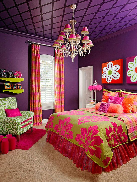 Purple Glam Deep purple walls and ceiling create a