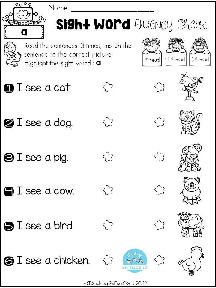 FREE Sight Word Fluency Check | Sight words kindergarten ...