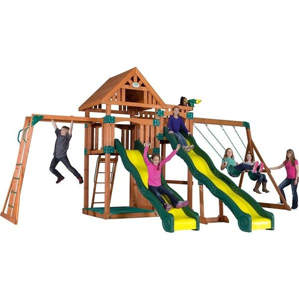 Backyard Discovery Crestwood Wooden Swing Set Brown 2 200