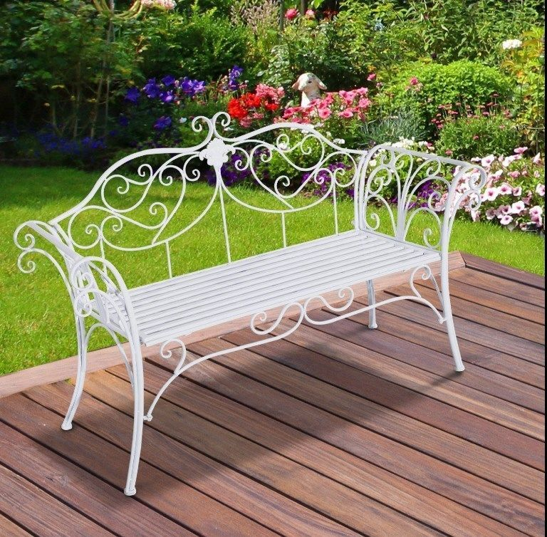 Admirable Vintage Garden Bench French Style Furniture White Metal Iron Lamtechconsult Wood Chair Design Ideas Lamtechconsultcom