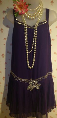 1920s Charleston Flapper Art Deco vintage purple embellished pleated dress 16 | eBay