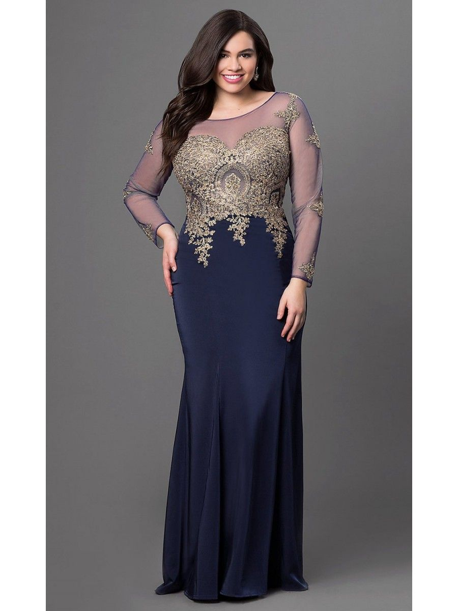 Long navy mermaid long sleeves gold lace long plus size prom evening